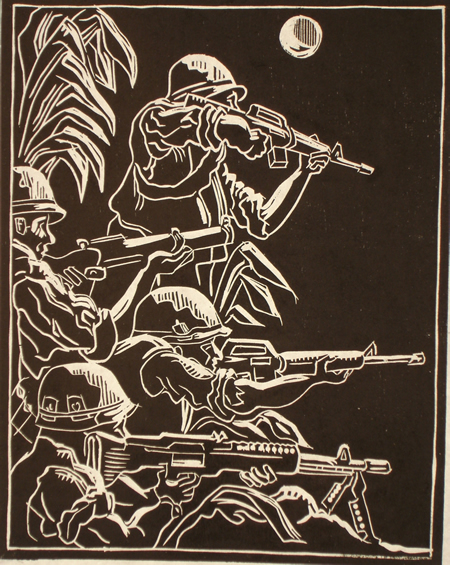 Woodcut of four soldiers holding rifles with the moon shining on them.