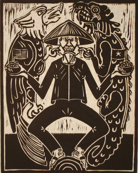 Woodcut of Vietnamese man with straw hat and black clothes holding a bowl of rice with a US flag in it in his right hand with an eagle pulling at that side of his cheek and a bowl of rice with a Chinese flag in it in his left hand with a dragon pulling at