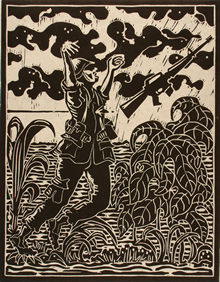 Woodcut of soldier being shot with arms outstretched and his rifle flying from his hands surrounded by bushes and high grass.