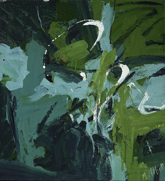an abstract expressionist work by Mary Abbott in shades of green and blue