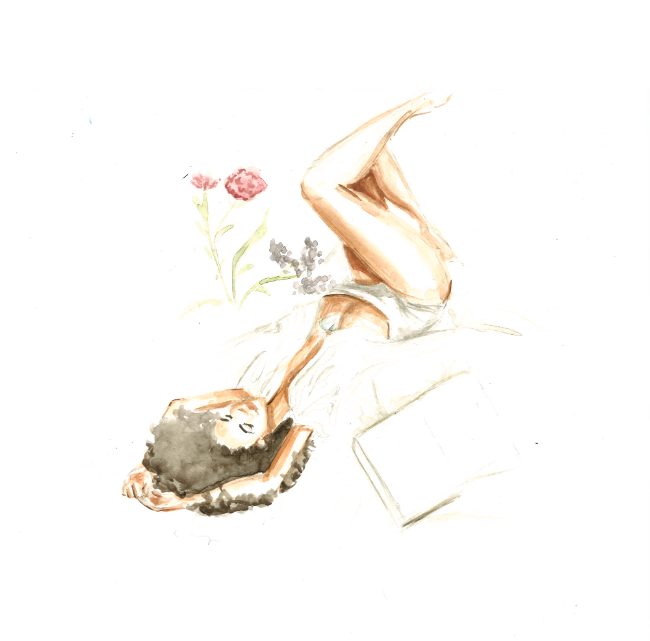 Watercolor of woman lying on bed