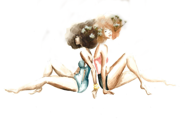 Watercolor of two women back-to-back