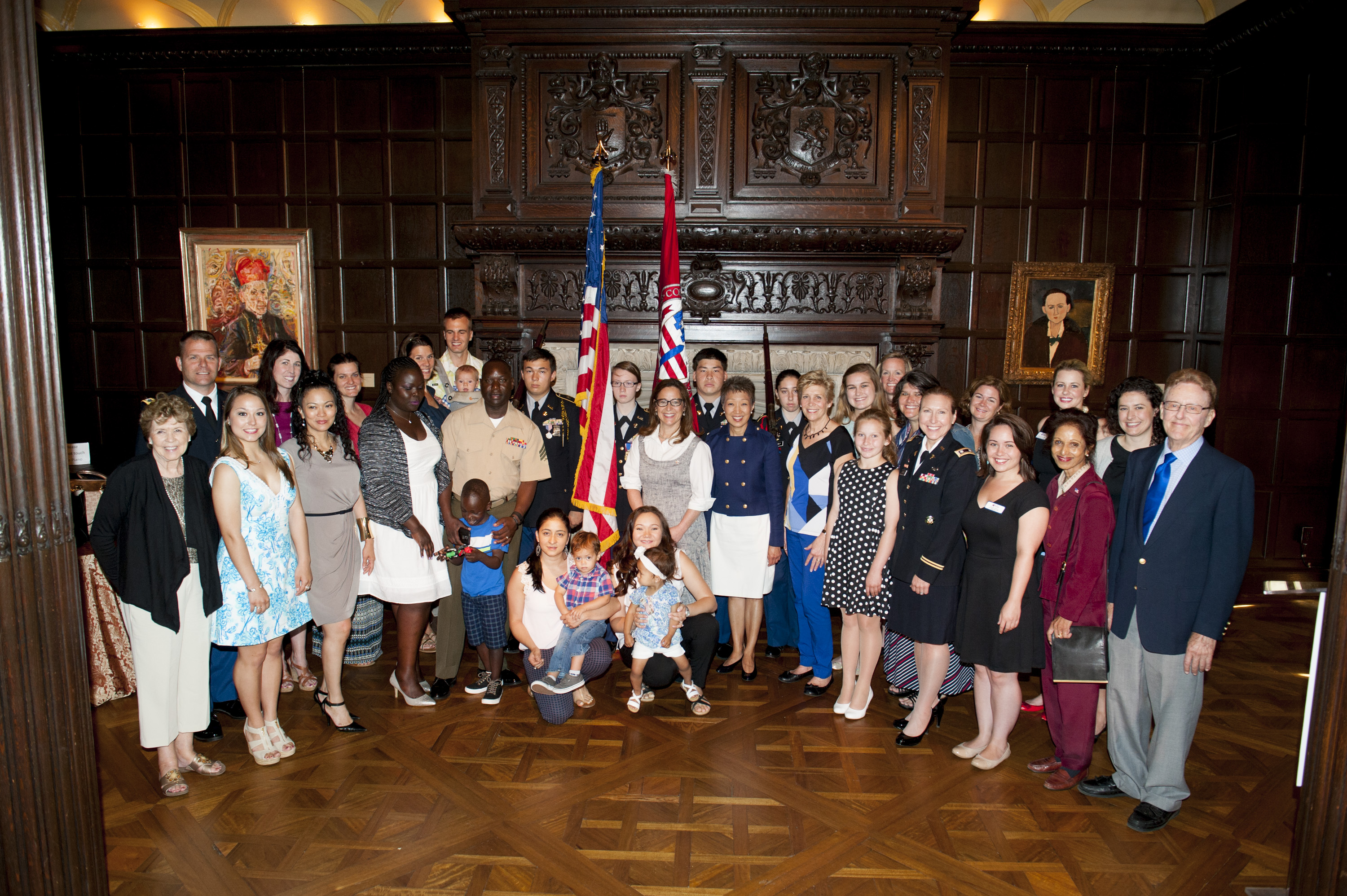 Large group of military families and guests at Blue Star Museums 2015 launch event at the Phillips Collection