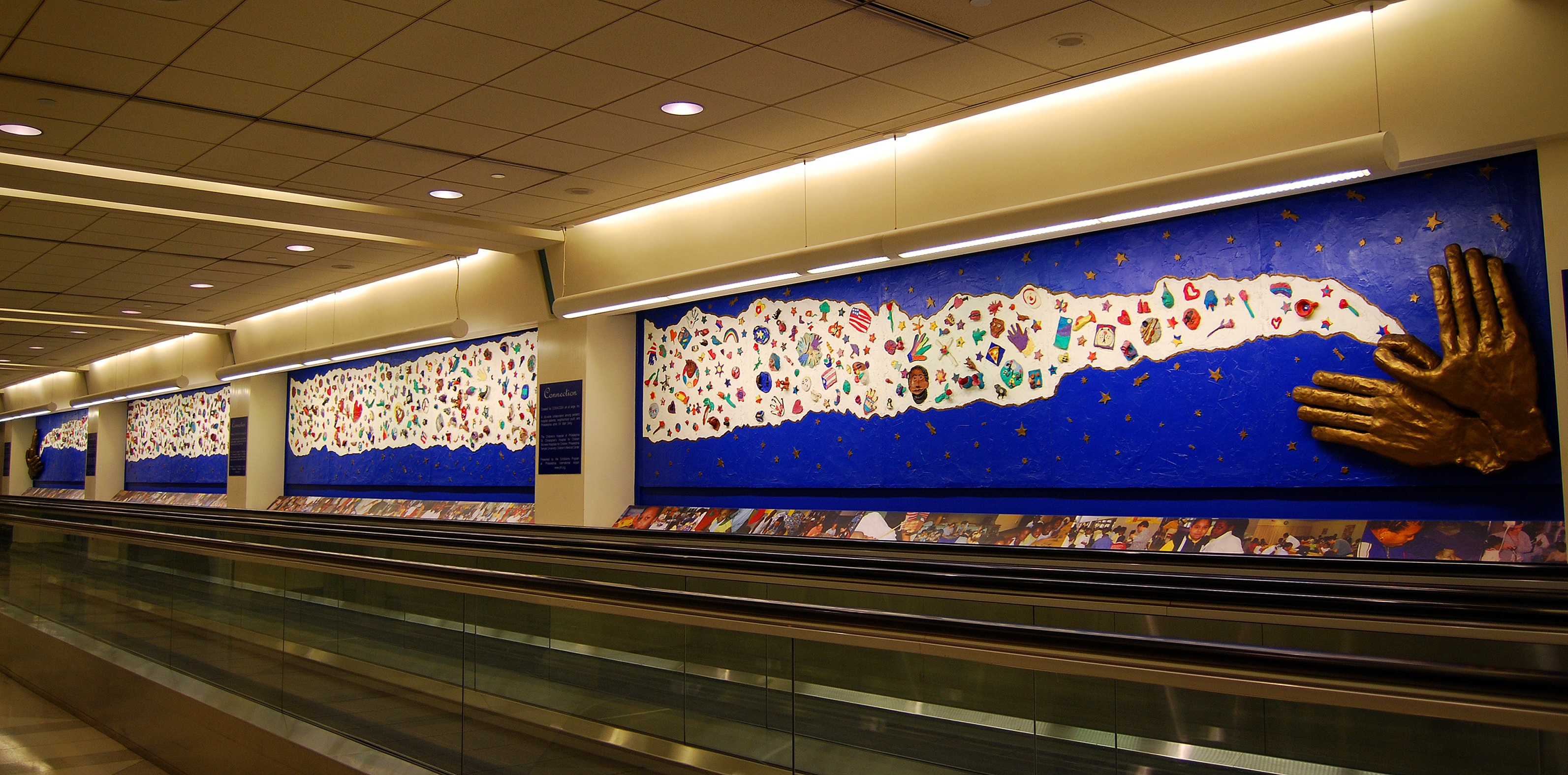 Mural on wall of airport.