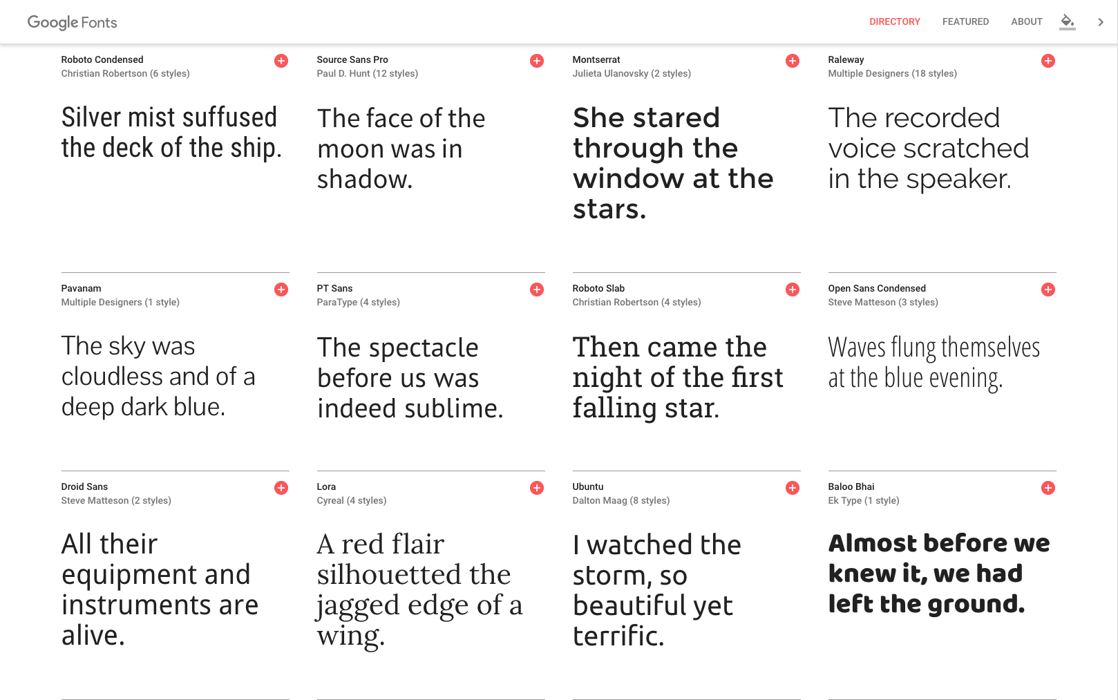 A selection of Google Fonts.