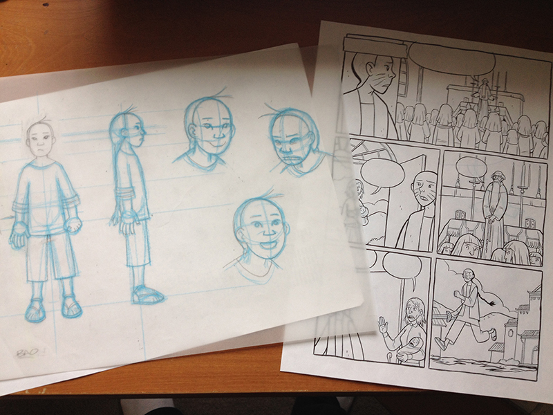 Draft drawings of a graphic novel.