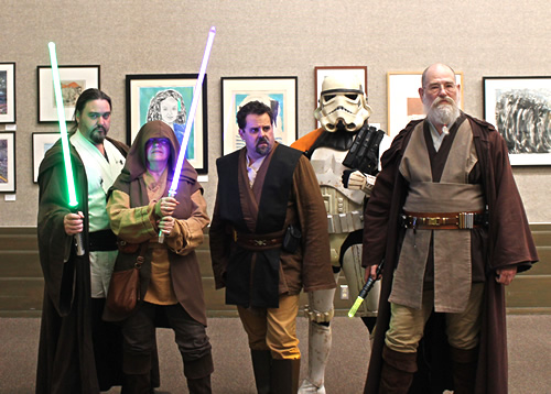 A group of Star Wars costume contest participants.