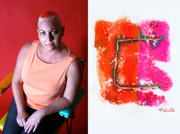 diptych of woman with shaved head and orange paint on her head and art print image of her scar