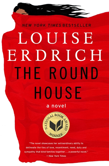 Book cover: author name in large white serif, title in black large sans serif, background a huge red field as a cape covering most of a woman except har face just above the eyes with streaming black hair
