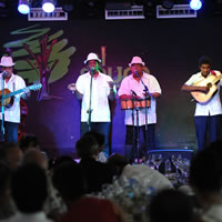Musical group plays on stage