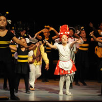 Young students dressed up like bumble bees and ladybugs dance on a stage.
