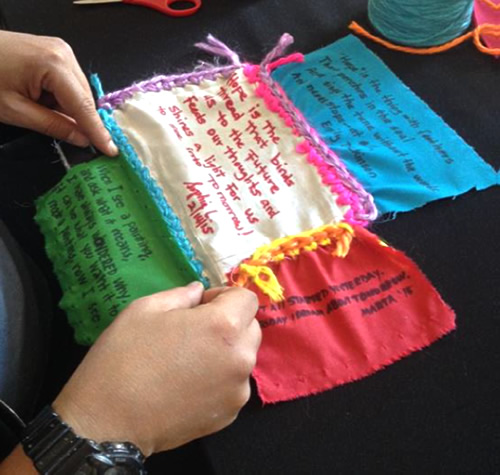 Four patches being woven together. Each patch contains a haiku
