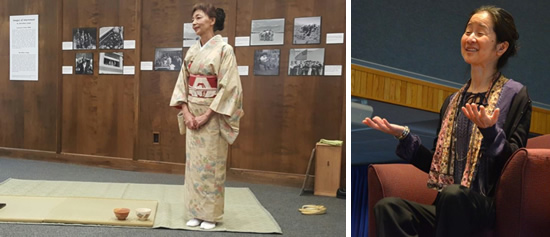 (left) woman in traditional Japanese apparel stands on tea mat. (Right) Author Julie Otsuka speaking
