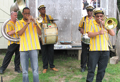 Treme Brass Band performing on the street at Quincy Market, Boston