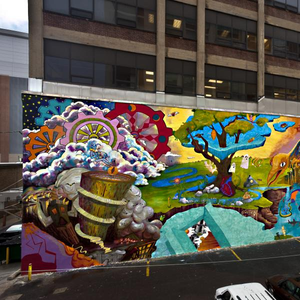 A brightly colored mural on a Philadelphia city wall