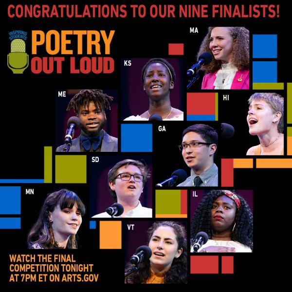 Photos of the top nine Poetry Out Loud finalists