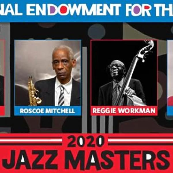 Detail from 2020 NEA Jazz Masters collage with two of the fellows' photos