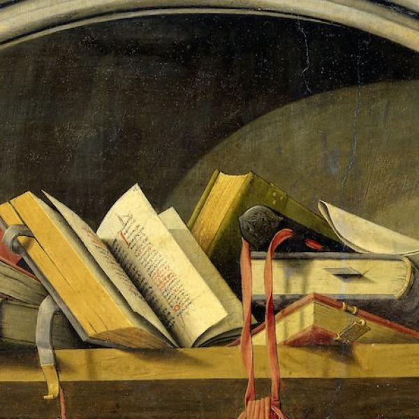 Dutch painting of various books in an arched niche