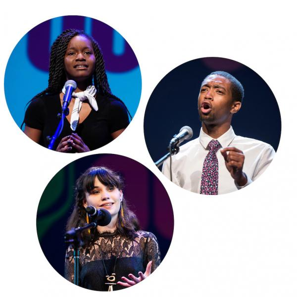 Photos of three Poetry Out Loud champs in individual circles against a white background