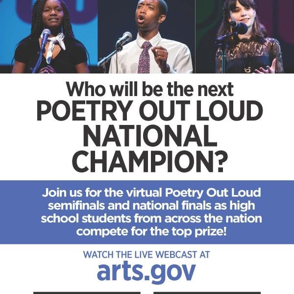 Invitation with three photos of students reciting and text: Who will be the next Poetry Out Loud National Champion?