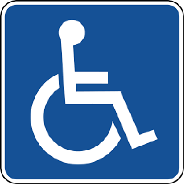 Blue wheelchair accessibilty symbol