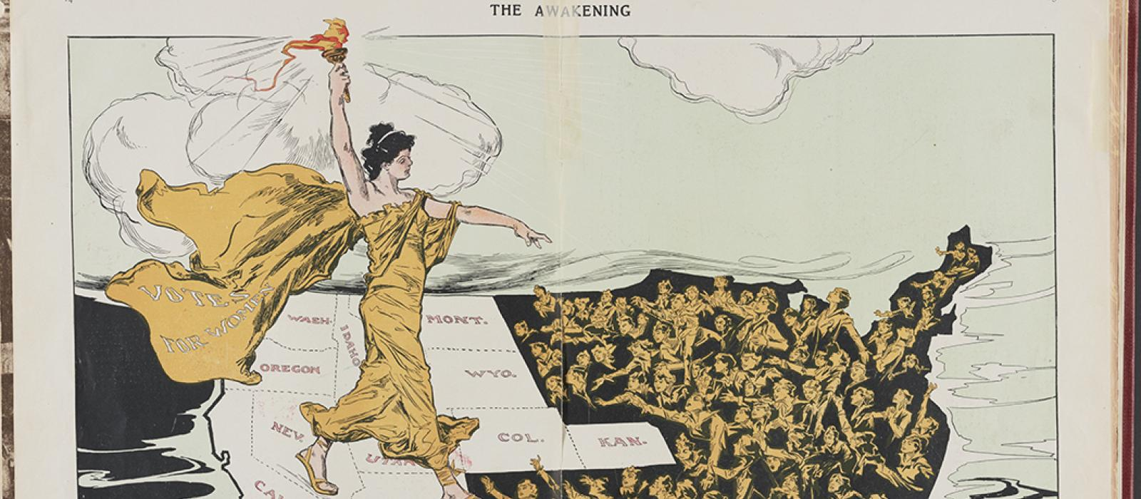 Illustration of a woman in classical garb walking across US map to bring women's suffrage to East Coast.