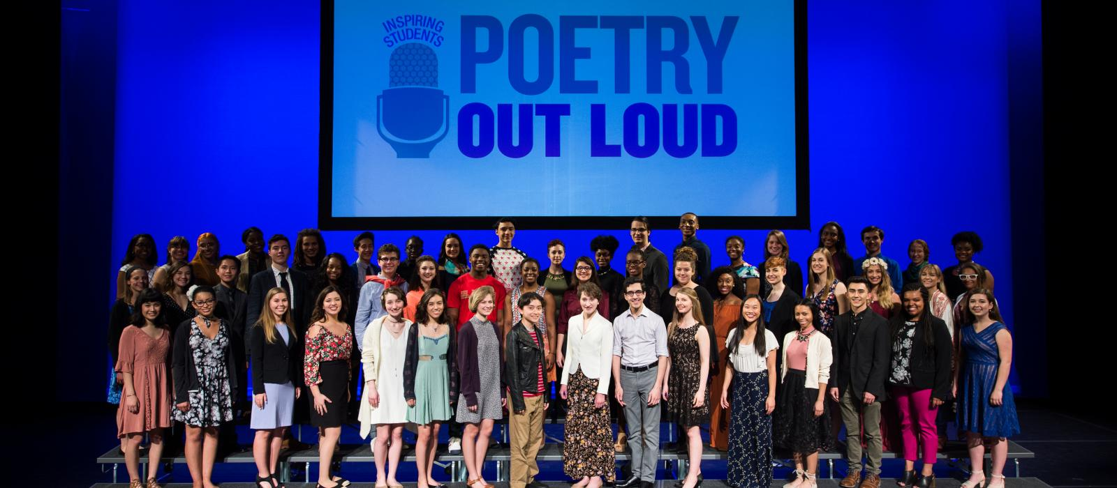 Teenagers from every state on state for a poetry recitation contest.