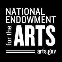 NEA LOGO black and white: Square with National Endowment for the Arts black and white logo white text on a black background
