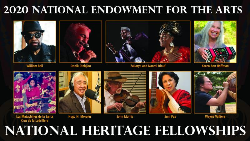 A collage of photos of different individuals with art work or performing with the text 2020 National Endowment for the Arts National Heritage Fellowships
