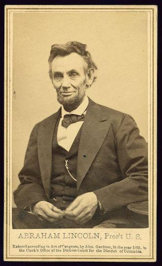 1865 photo of President Abraham Lincoln on a photo card