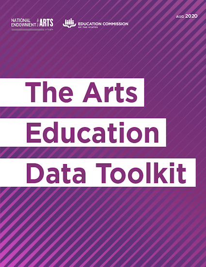 Text that says The Arts Education Data Toolkit written in purple on white on a differently shaded purple background. Agency logos at top of page