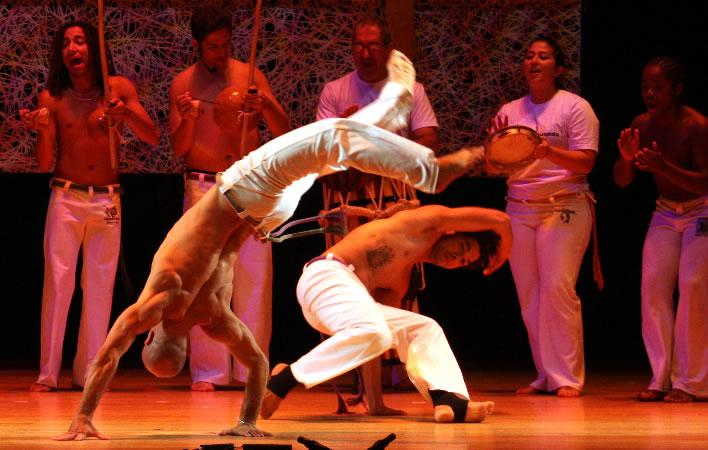 Jelon Vieira and his students perform capoeira. Photo by Michael G. Stewart.