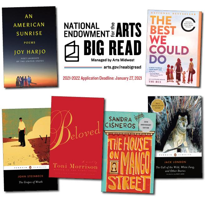 Big Read logo with book covers for An American Sunrise, The Best We Could Do, The Call of the Wild, the House on Mango Street, Beloved, and The Grapes of Wrath