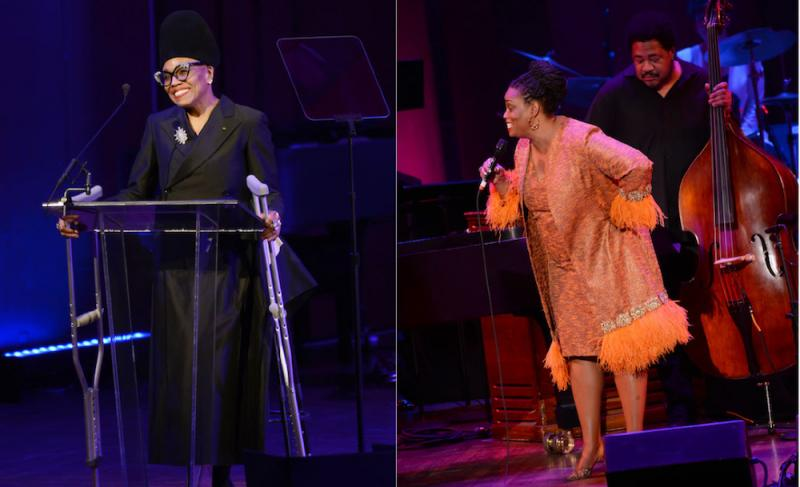 Diptych of photos of Dee Dee Bridgewater and Dianne Reeves
