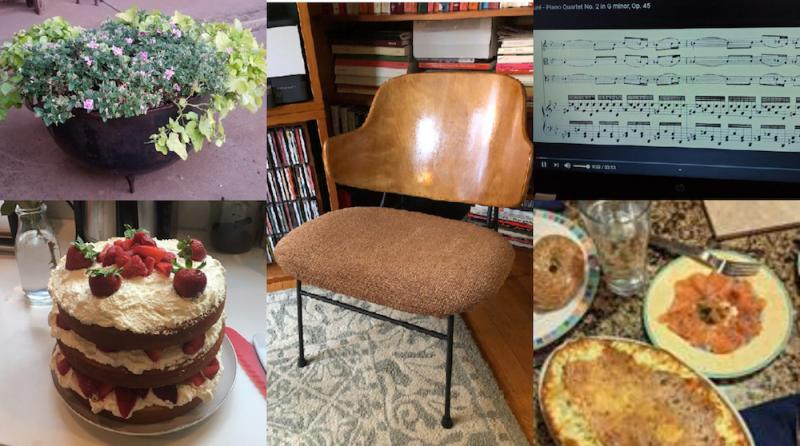 Photos of upholstery, baking and garden projects by NEA staff