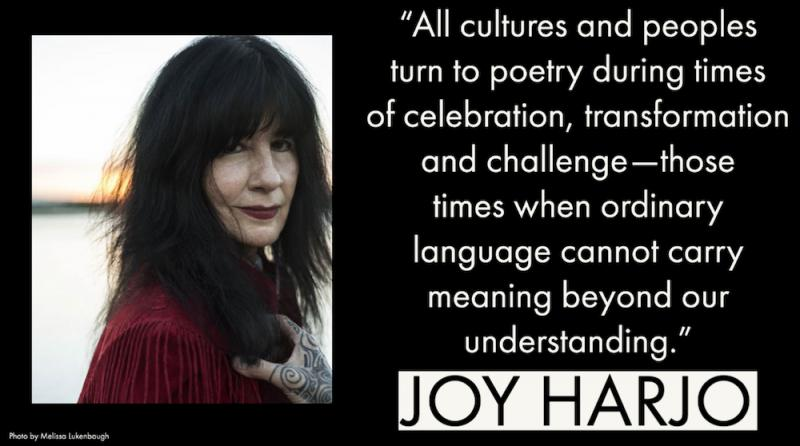 quote by Joy Harjo with photo of Harjo