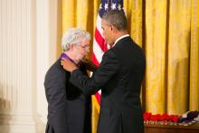 George Lucas receives medal from President Obama