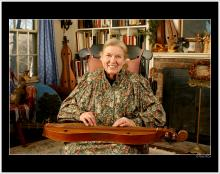 headshot of dulcimer player smiling