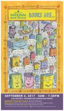 2017 National Book Festival Poster of Cartoon Books in a Crowd