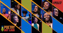 Graphic with photos of the nine poetry out loud finalists