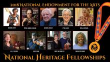 Headshots of nine individuals with next saying 2018 National Endowment for the Arts National Heritage Fellowships