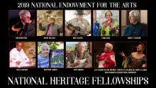 Photos of the 2019 National Heritage Fellows with text reading 2019 National Endowment for the Arts National Heritage Fellows.