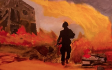 Painting of a firey war scene with a single tropp moving forward