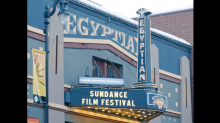 Street view of the Egyptian historic theater with Sundance Film Festival on the marquee