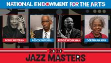 "Photos of the 2020 Jazz Masters with text saying ""National Endowment for the Arts 2020 Jazz Masters"""