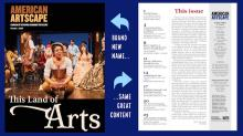 a collage featuring the cover of American Artscape magazine and the table of contents. One arrow points to the cover saying Brand new name white another arrow points to the text saying Same great content