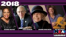 Collage of photos of the 2018 NEA Jazz Masters: Dianne Reeves, Todd Barkan, Joanne Brackeen, Pat Metheny