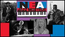 Headshots of four NEA Jazz Masters with NEA Jazz Masters logo