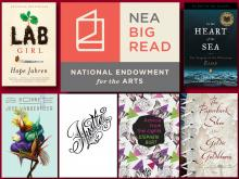 Image of six book covers with the NEA Big Read logo in the center.