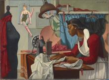 painting of a well-dressed woman of color working at a sewing machine